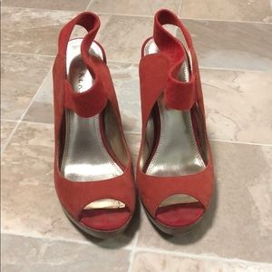 Coral opened toed heels